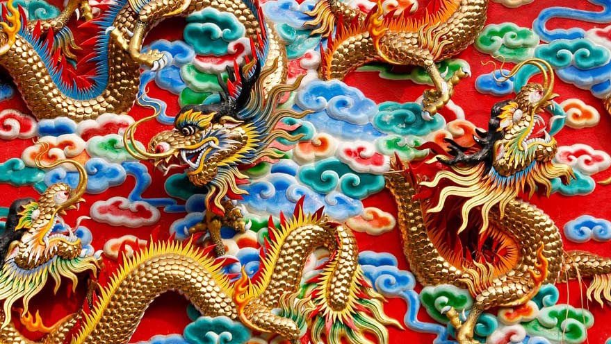 Chinese dragons with pattern