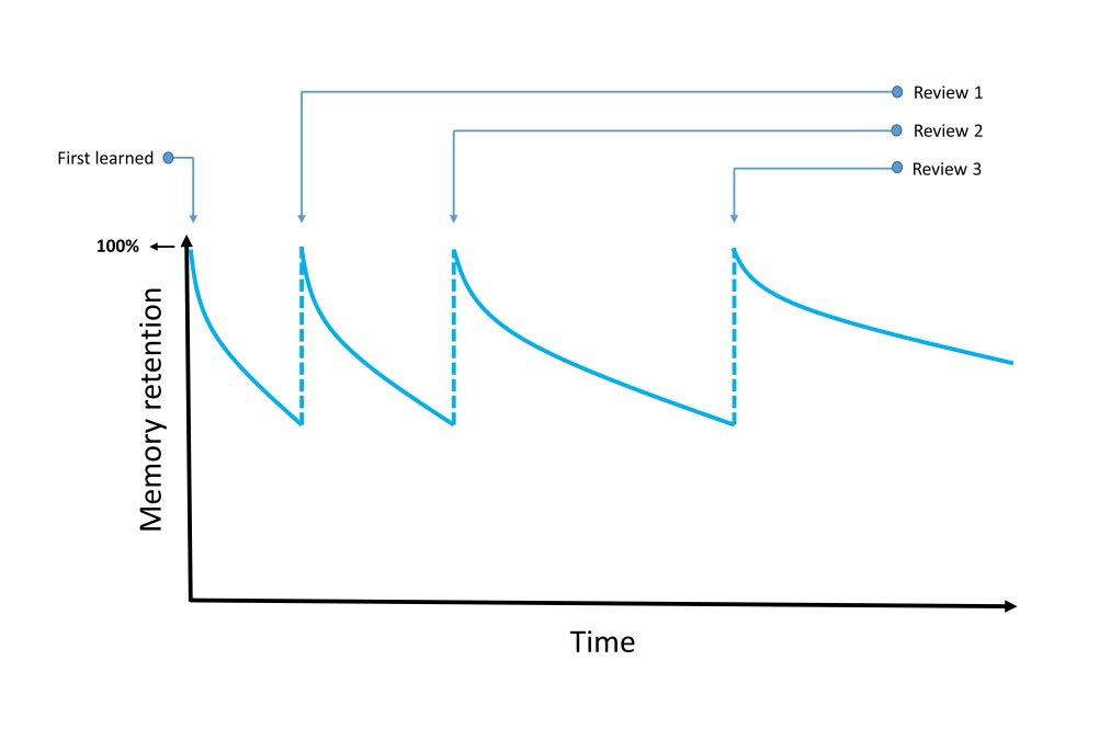 Forgetting curve with spaced repetition